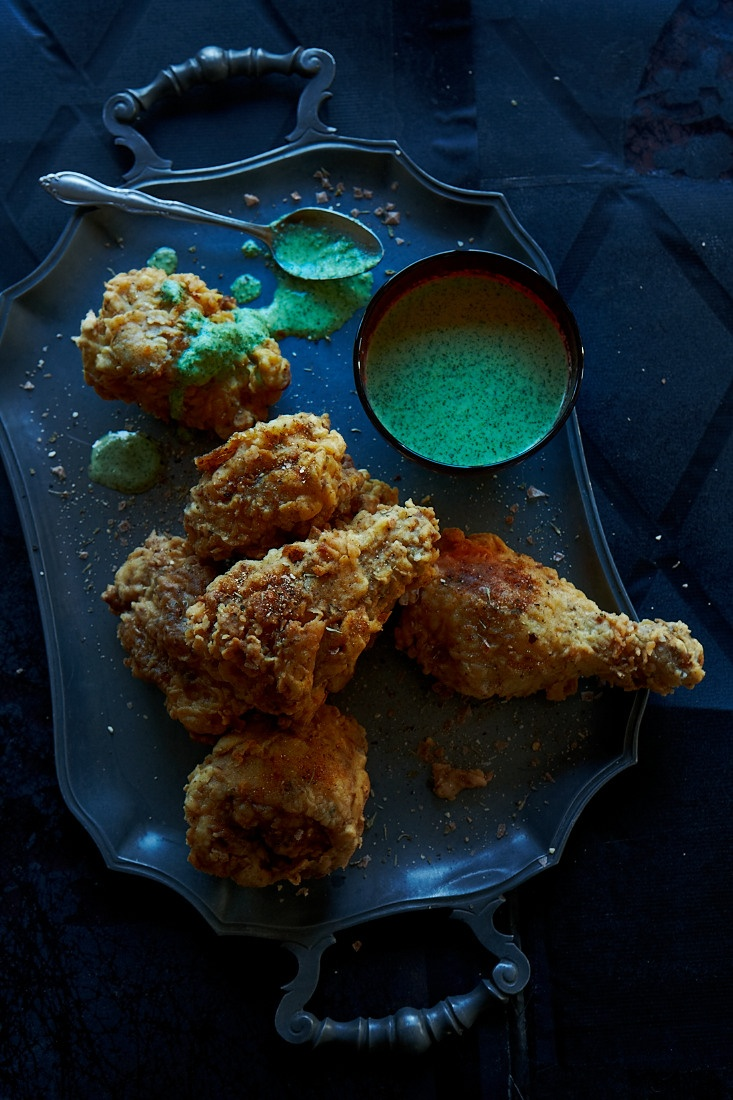 Cajun fried chicken with a green chilli and coriander dressing
