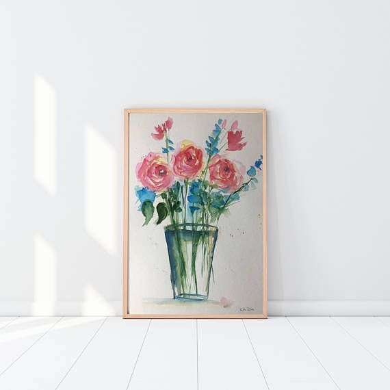 Original watercolor watercolor painting picture art flowers in the vase flowers Watercolour