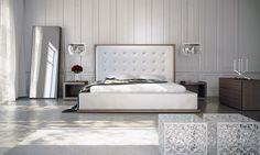 Ludlow II Walnut and White Leather Platform Bed at GoWFB.ca | Modloft - Ludlow II Walnut and White Leather Platform Bed by Modloft