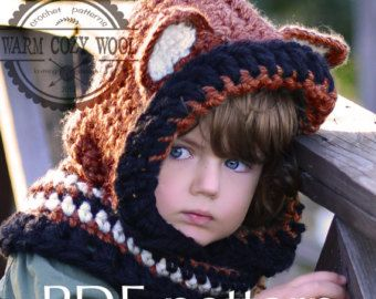 CROCHET PATTERN   Fox Hooded Cowl For baby,toddler, child, adult. PDF 4 *