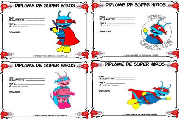diplômes pour super héros