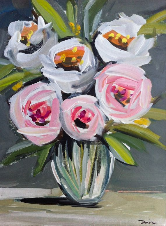 Roses Peonies Abstract Painting Canvas by Marendevineart on Etsy, vase, glass, dallas, texas, art, painting, painter, canvas, pink, lime, citron