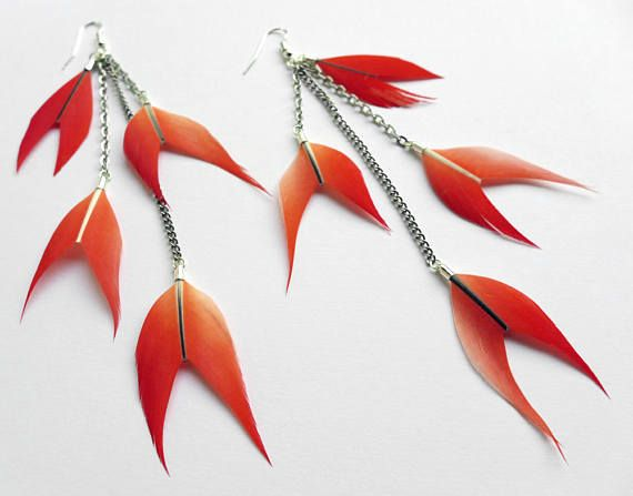 Parrot feather earrings cruelty free feathers chevron-cut