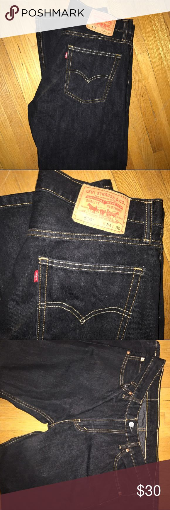 Men's Levi 514 Dark Wash Jeans Men's Levi Strauss Jeans size 34/30 Levi's Jeans Straight