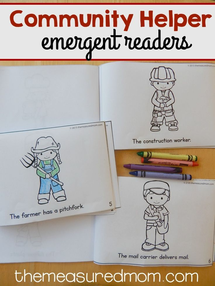Get a set of three FREE community helper emergent readers for kids ages 3-6!