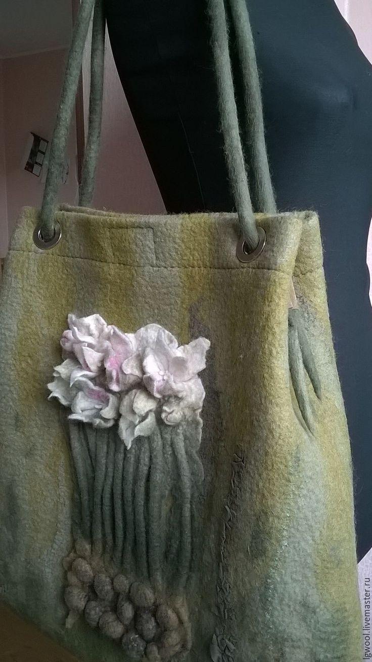"""Купить Валяная сумка - шоппер """"Сон-трава"""" - оливковый, цветочный, оттенки зеленого, молочный, розовый"""