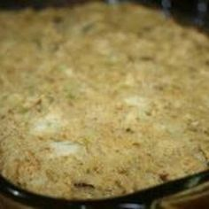 This is a wonderful, old fashioned dressing. It goes great with a baked chicken or your turkey on Thanksgiving.