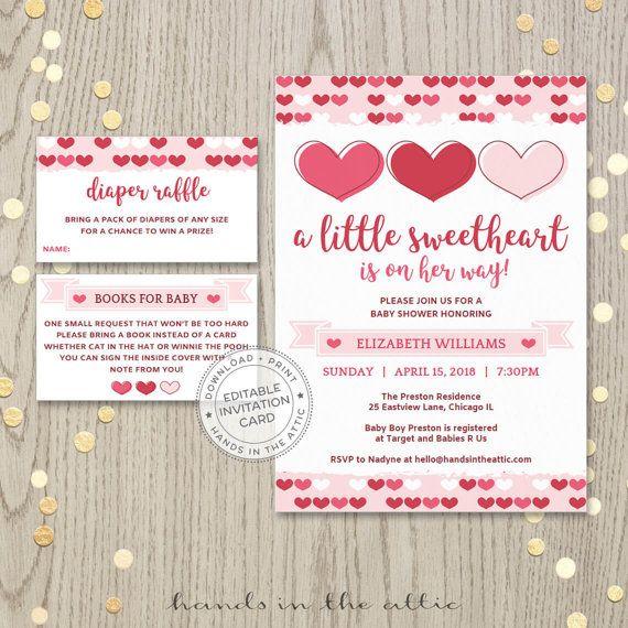 Valentine Baby Shower Invitation Pink Hearts Valentine S Day Invite