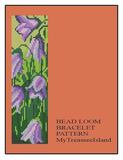 For sale is the Bead Loom Bracelet Floral Harebell Pattern Chart in PDF format.    For this design I used Miyuki Delica seed beads in size 11.