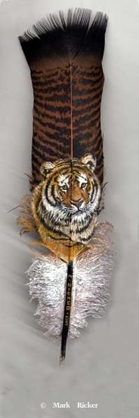 African Animals Painted on Feathers 2