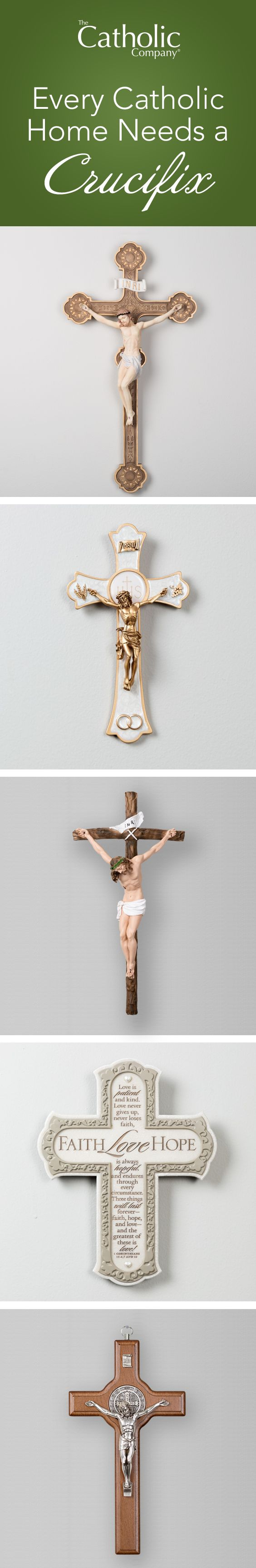 Make your walls a place of art and beauty by thoughtfully featuring a wall crucifix or cross.