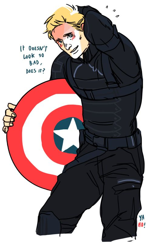 This is cute and funny, but it'd be funnier if his left arm was bare, because Bucky never had a left sleeve