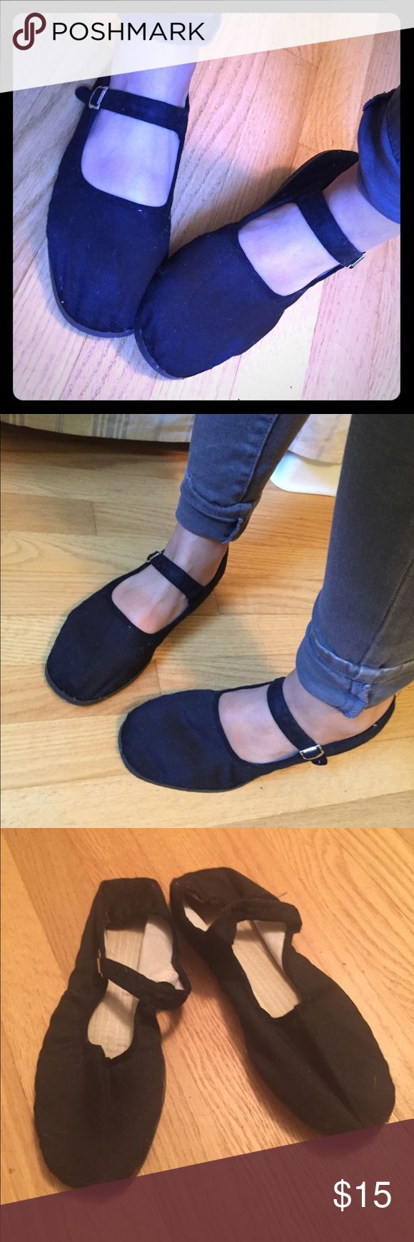 Cotton Mary Jane Slippers Black cotton Mary Jane slippers/flats. In like new condition. Super comfy for inside or out! Shoes Flats & Loafers