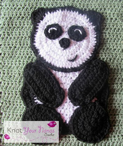 Panda Applique-$2.00 byTeri HeathcoteofKnot Your Nana's Crochet
