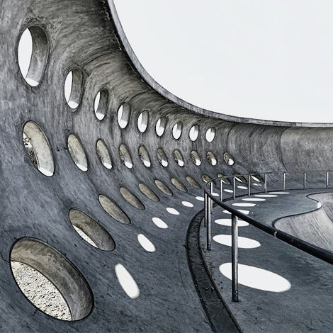 The amazing SkatePOOL skatepark in Munich, here photographed by Harald J Braun, is a concrete lover's dream.