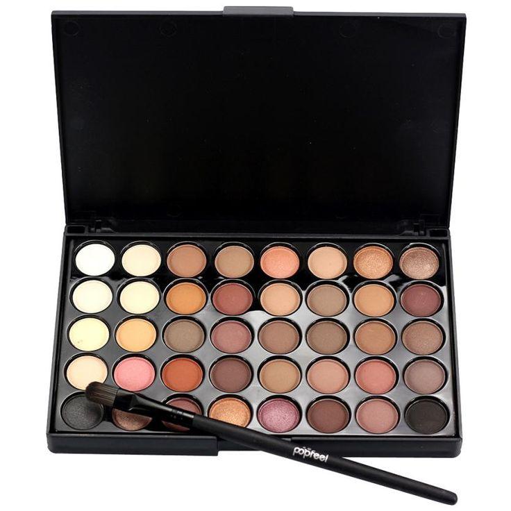 Popfeel marca 15*10*0.9 cm cosméticos crema de sombra de ojos mate shimmer maquillaje paleta set 40 colores + pincel establecer un 2017 anne