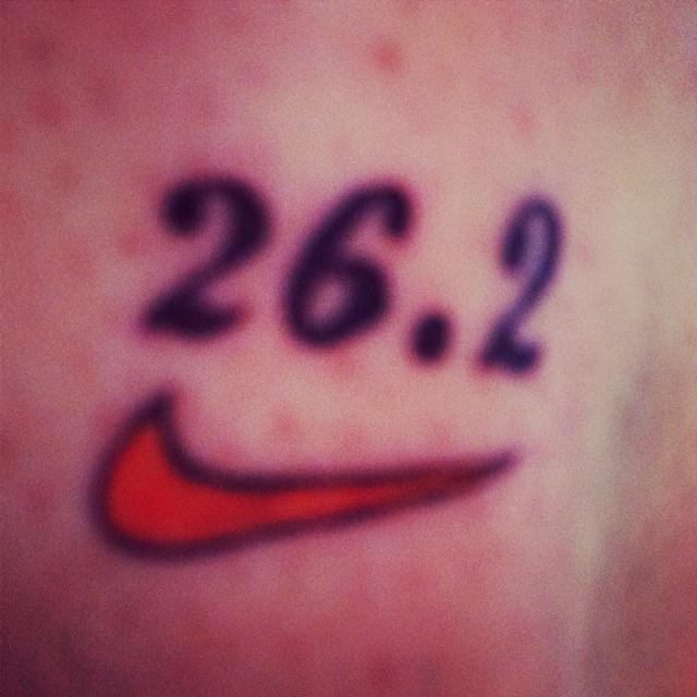 My Marathon tattoo #nike #tattoo #marathon