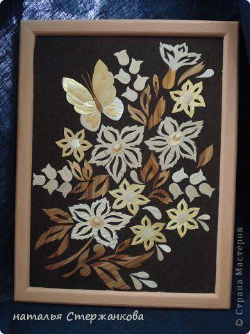 Картина панно рисунок Поделка изделие 8 марта Аппликация Плетение моя соломка Соломка фото 2