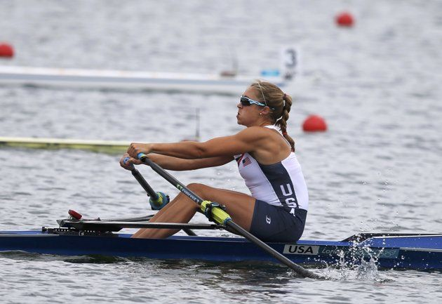 Genevra Stone of the U.S.competes in the women's single sculls quarterfinals at Eton Dorney.
