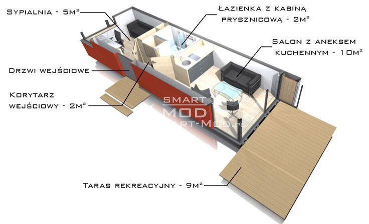 Rzut 3d domku letniskowego Apartament 25