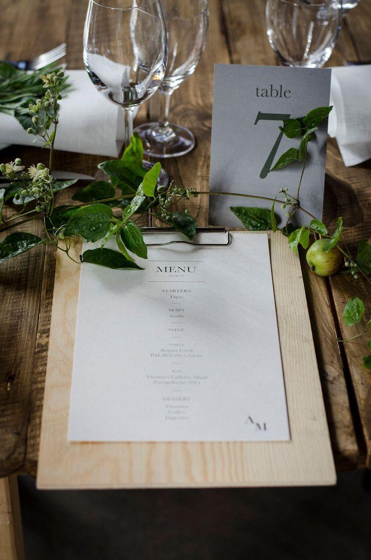 Industrial wedding Prague - menu design