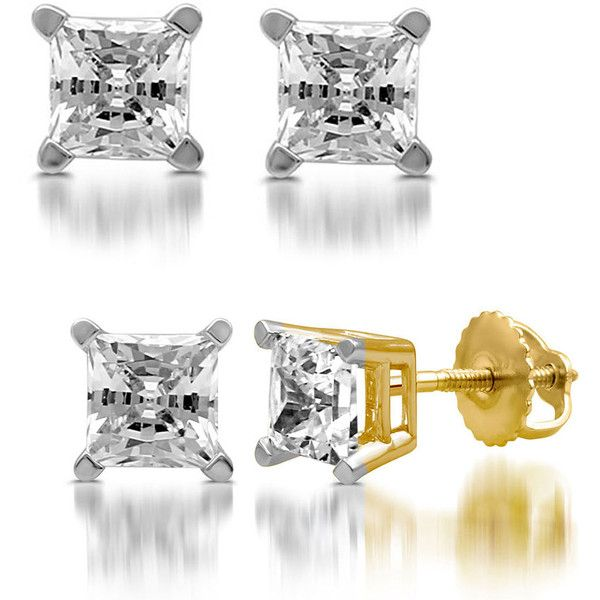 DeCarat Certified Diamond Stud Earrings1.00 CTTW-Princess/Yellow Gold ($630) ❤ liked on Polyvore featuring jewelry, earrings, i, jewelry & watches, round stud earrings, 14k stud earrings, gold diamond earrings, princess cut diamond earrings and white diamond earrings