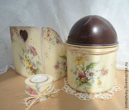 """Короб и настольный контейнер для мусора """"Разнотравье"""" - летние цветы,полевые цветы"""