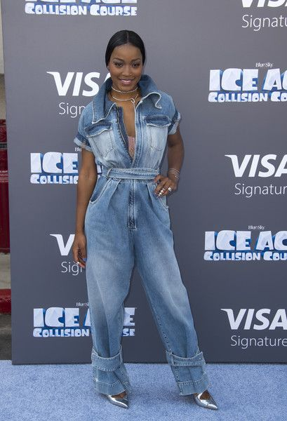 Keke Palmer Jumpsuit - Keke Palmer was utilitarian-chic in a baggy denim jumpsuit by Off-White c/o Virgil Abloh at the screening of 'Ice Age: Collision Course.'
