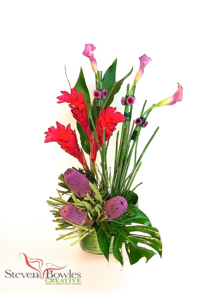 Modern tropical floral arrangement designed by steven
