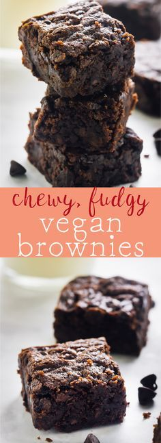 These Vegan Chocolate Chewy Fudgy Brownies are beyond addictive! They are chewy, fudgy, rich in chocolate and so easy to make! via http://jessicainthekitchen.com