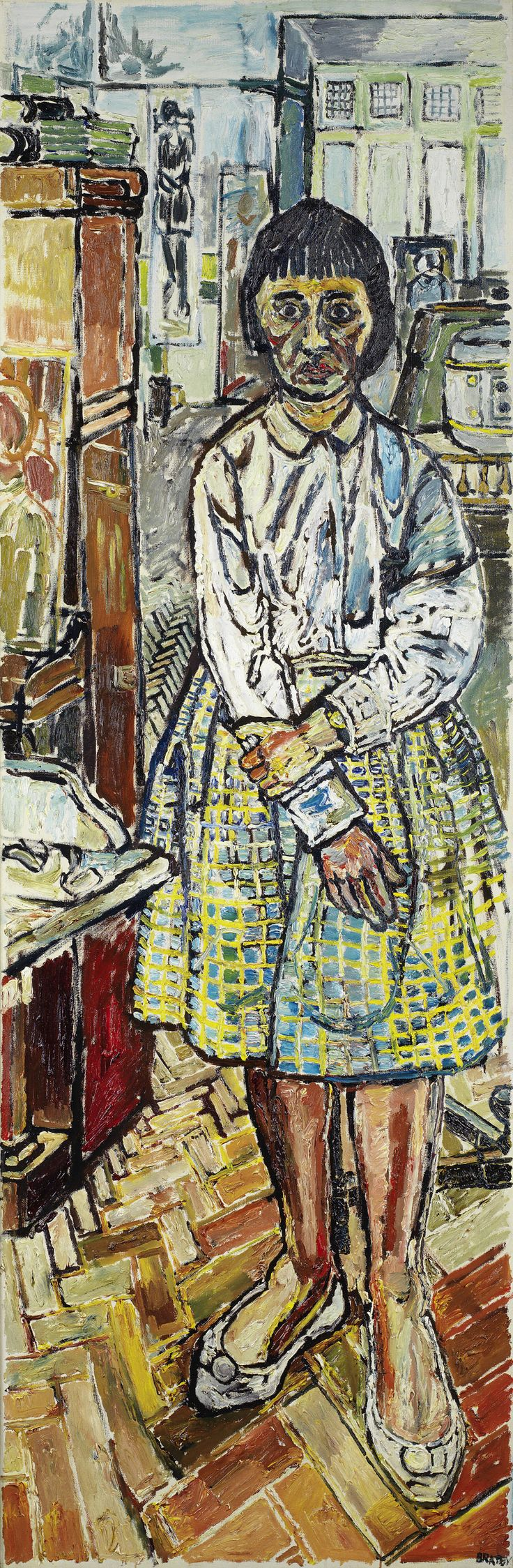 John Bratby R.A. (British, 1928-1992) Gloria signed 'BRATBY' (lower right), oil on canvas 183 x 60.5cm (72 1/16 x 23 13/16in).