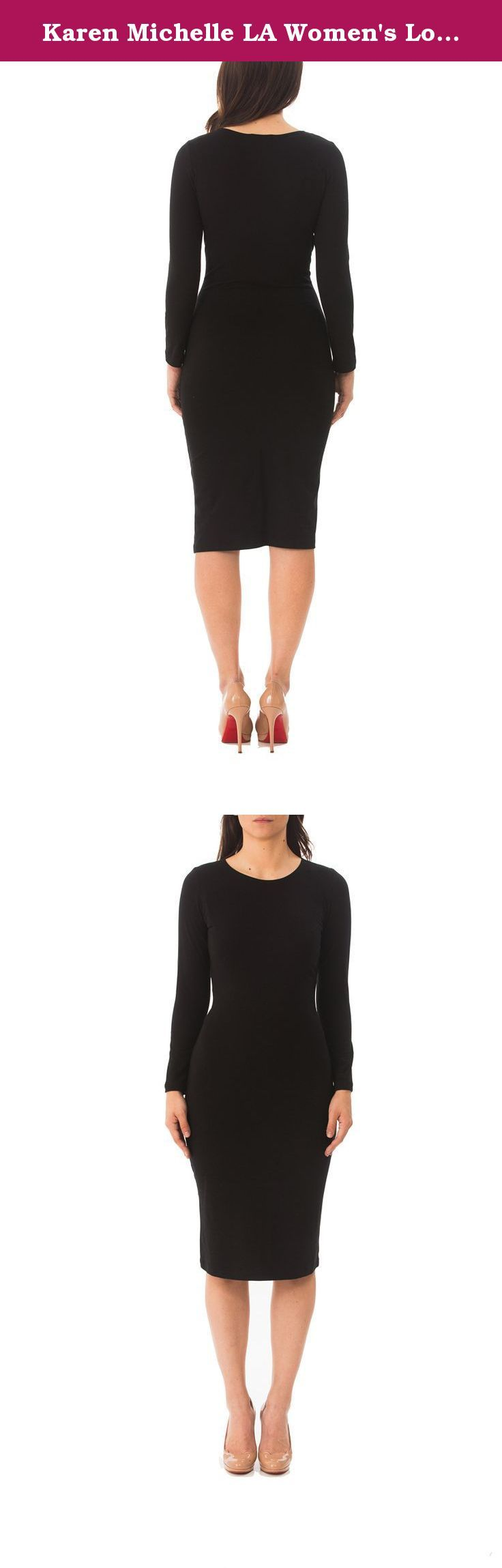 Karen Michelle LA Women's Long Sleeve Layering/Sheath Dress 1X Black. This one piece fitted silhouette layering/sheath dress can be layered with a jacket or blazer and worn for day or evening events. Go from work to play in this classic staple dress. Comfortable and easy to wear! Features a body hugging, fitted silhouette.
