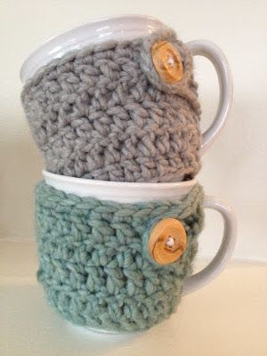crocheted mug cozies - perfect for winter :)