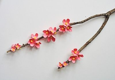 Egg Carton Cherry Blossom Branch @amandaformaro Crafts by Amanda
