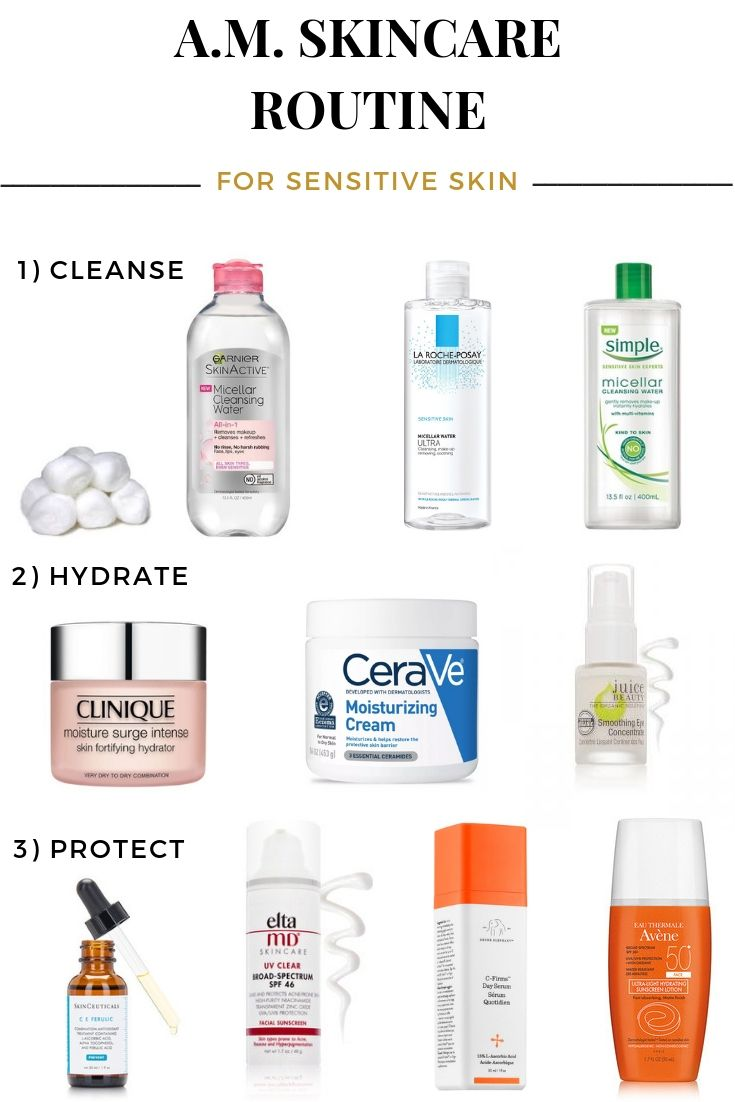Morning Skincare Routine For Sensitive Skin Sensitive Skin Care Routine Skin Routine Sensitive Skin Care
