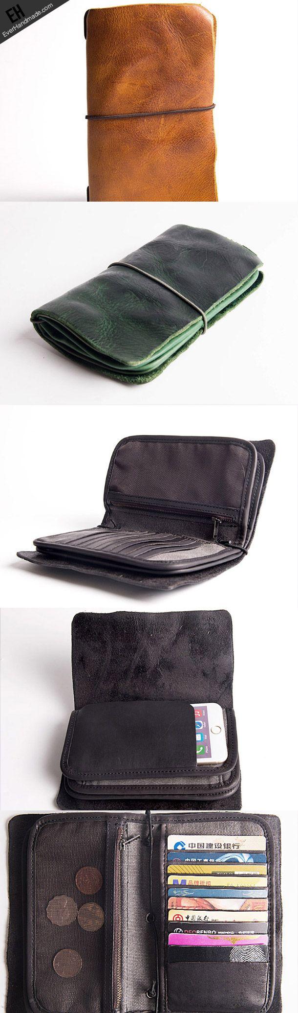 Handmade vintage long wallet leather men phone zip clutch vintage wallet
