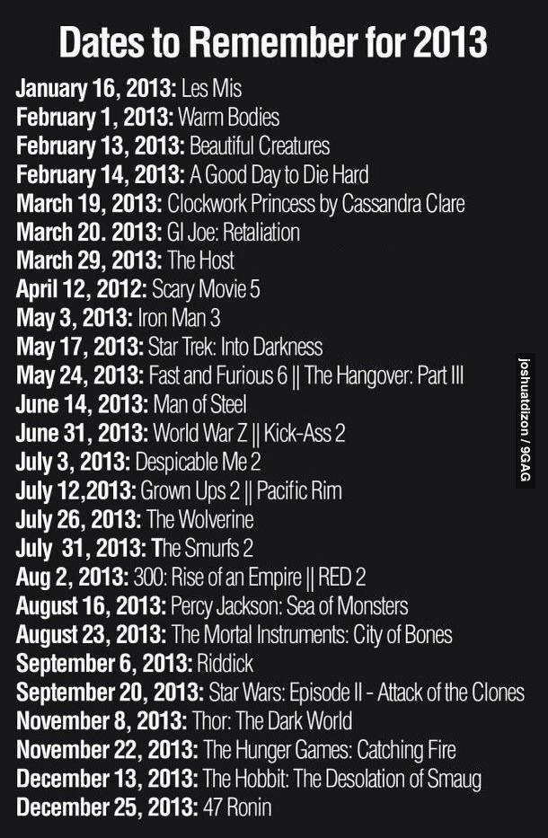 Movie dates. Les Mis, Warm Bodies (shut up, don't judge. I'm seeing