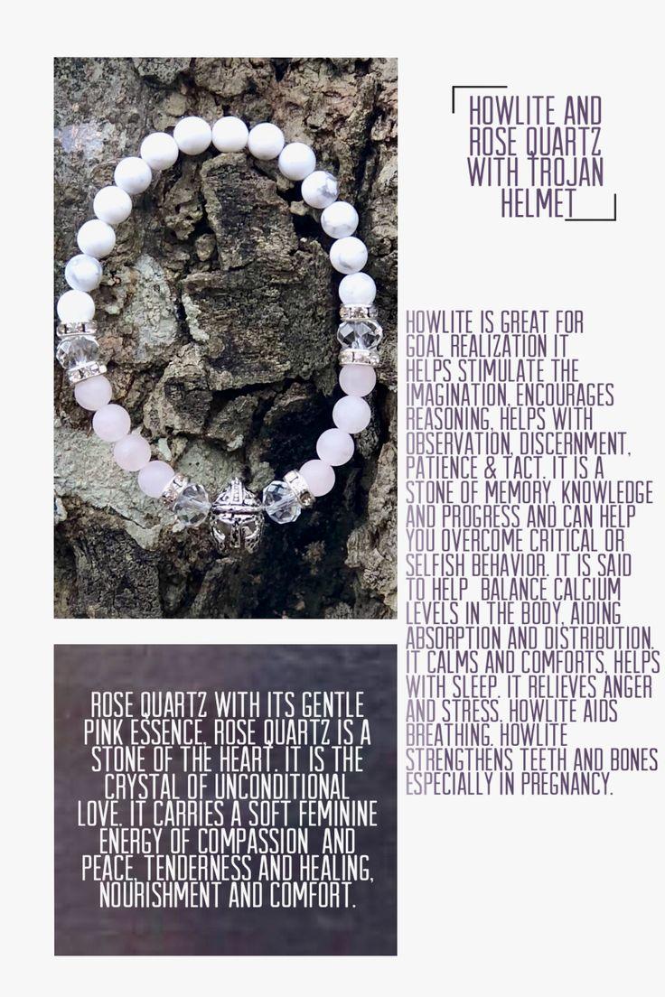 Howlite and Rose Quartz Trojan helmet bracelet