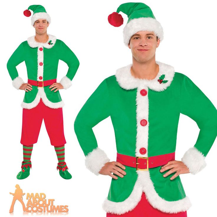 Adult North Pole Guy Elf Costume Christmas Helper Xmas Fancy Dress Outfit New