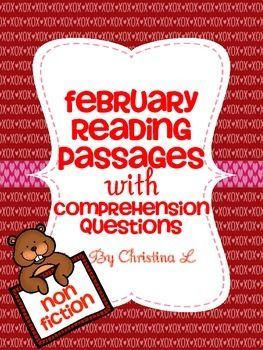 Here are some fun reading passages about February filled with lots of fun facts.  Use them as a quick warm up activity, for early finishers or in a reading center.Includes 8 February themed reading passage, each with 3 comprehension questions Worksheet for recalling 4 February facts that students have learnedThe 8 passages include the following titles: Groundhog Day What is a Groundhog Anyway? $