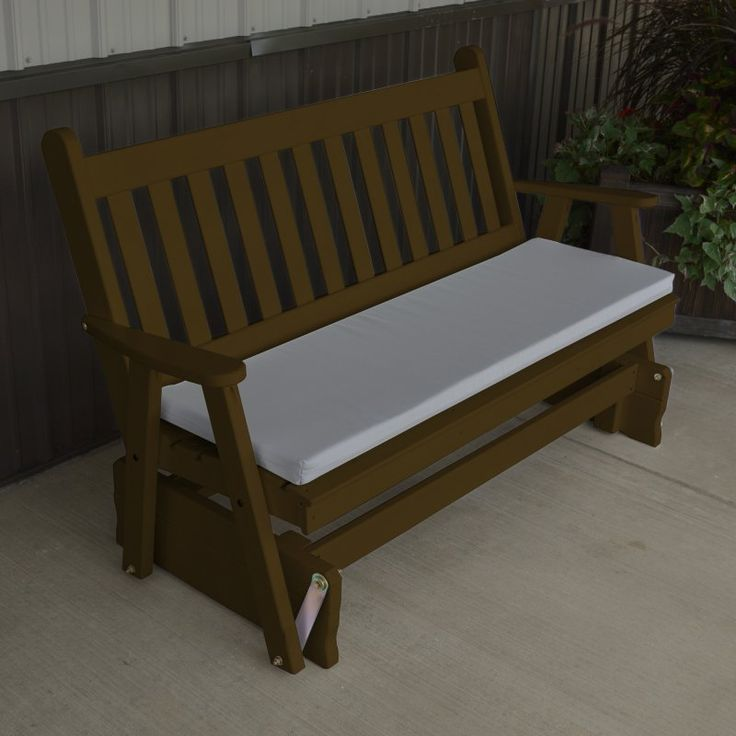A & L Furniture Yellow Pine Traditional English Outdoor Bench Glider Coffee - 603-CP COFFEE