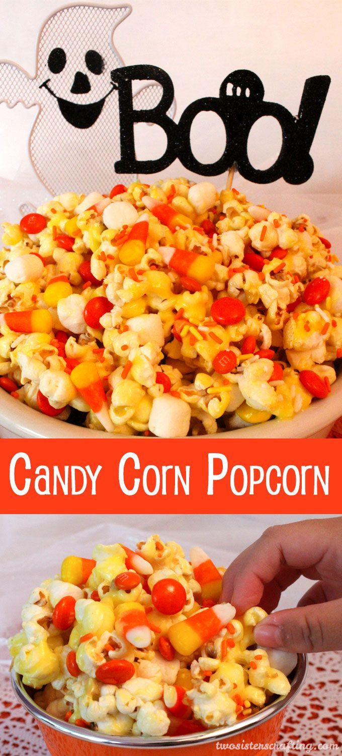 Candy Corn Popcorn - a fun Halloween treat. Sweet, salty, crunchy and delicious and it is so easy to make. It would be a great Halloween Party Food or a movie night dessert!
