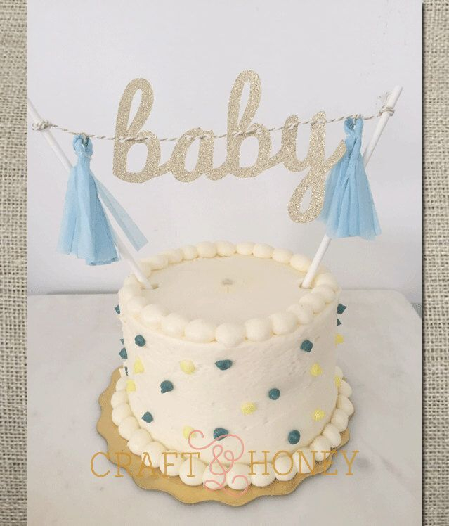 Baby Mini Tissue Tassel Banner Cake Topper // Baby Shower Cake Topper by CraftandHoney on Etsy https://www.etsy.com/listing/235155933/baby-mini-tissue-tassel-banner-cake