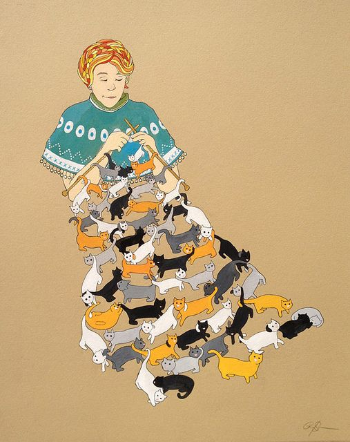 knitting cats - red prairie press: