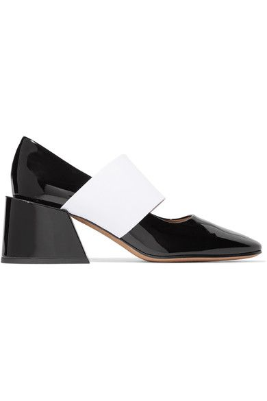 Heel measures approximately 60mm/ 2.5 inches Black and white patent-leather  Square toe Slip on  Made in Italy