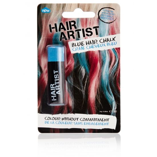 Blauwe haarkrijt. Kleur met deze blauwe haarkkrijtjes je haar blauw. Makkelijk aan te brengen en ook weer makkelijk uit te wassen.