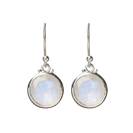 Balance Faceted Moonstone Round Earrings in Sterling Silver