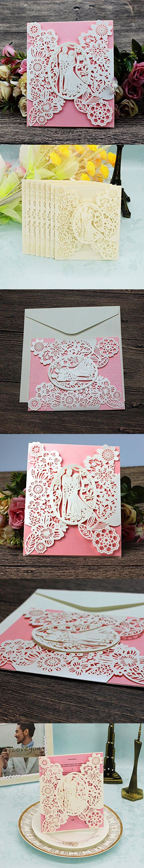 Laser Cut Wedding Invitations 40 pack FOMTOR
