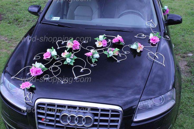 Wedding Car Decoration Mauve  Ivory flowers