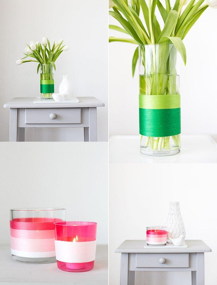 Basteln für Erwachsene - die Glasvase mit Bindfaden in grüner Farbe